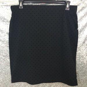 NWT Large Black Skirt Velvet Polka Dots